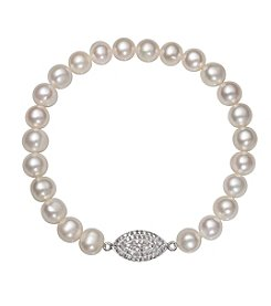 .925 Sterling Silver Cultured Freshwater Pearl Stretch Bracelet with Marquise Shape Charm