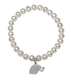 .925 Sterling Silver Cultured Freshwater Pearl Stretch Bracelet with Peacock Charm