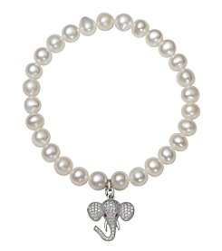 .925 Sterling Silver Cultured Freshwater Pearl Stretch Bracelet with Elephant Charm