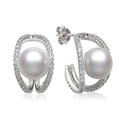 .925 Sterling Silver Cultured Freshwater Pearl and Cubic Zirconia Earrings