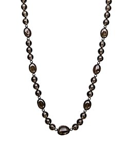 .925 Sterling Silver Smoky Quartz and Silver Bead Necklace