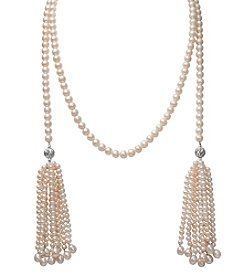 .925 Sterling Silver Cultured Freshwater Pearl and Faceted Bead Double Tassel Necklace