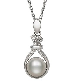 .925 Sterling Silver Cultured Freshwater Pearl and Cubic Zirconia Pendant Necklace
