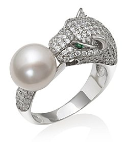 .925 Sterling Silver 9-10mm Cultured Freshwater Pearl and Cubic Zirconia Ring