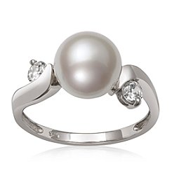 .925 Sterling Silver Cultured Freshwater Pearl and Cubic Zirconia Ring