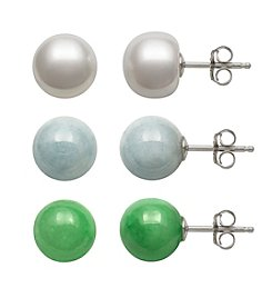 .925 Sterling Silver Cultured Freshwater Pearl, Milky Aqua and Jadeite Stud Earrings Set