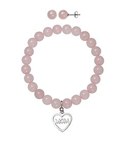 .925 Sterling Silver Rose Quartz Stretch Bracelet with Mom Charm and Stud Earrings Set