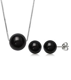 .925 Sterling Silver Onyx Necklace and Stud Set