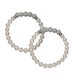 .925 Sterling Silver Cultured Freshwater Pearl and Crystal Stretch Bracelet 2 Piece Set
