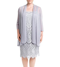 R&M Richards® Plus Size Sheer Jacket Lace Dress