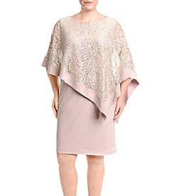 R&M Richards® Plus Size Sequin Poncho Dress
