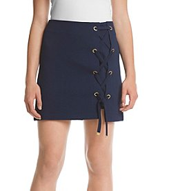 Kensie® Crinkle Lace-Up Mini Skirt