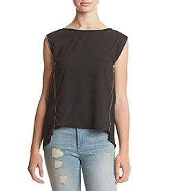 Sequin Hearts® Black Zipper Trim Shirt