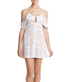 XOXO® Whiite Lace Dress With Cold Shoulders