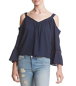 XOXO® Navy Off Shoulder Peasant Top