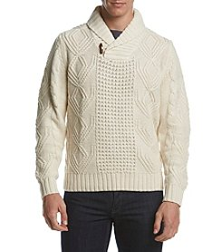 Weatherproof® Men's Acrylic Cable Shawl Collar Sweater