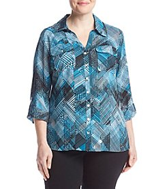Notations® Plus Size Printed Woven Top