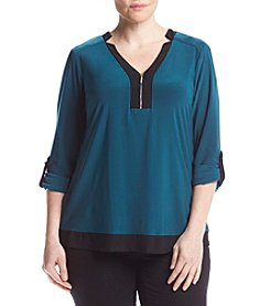 Studio Works® Plus Size Y-Neck Zipper Top