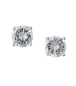 BT-Jeweled Round 8mm Clear Cubic Zirconia Earrings