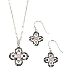 Marsala Boxed Marcasite Necklace And Earring Set