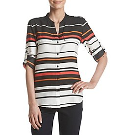 Calvin Klein Striped Roll Tab Blouse