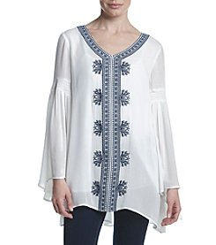Joan Vass® Embroidered Crepe Tunic
