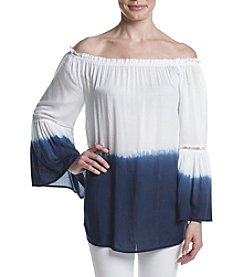 Joan Vass® Dip Dye Off Shoulder Bell Sleeve Top