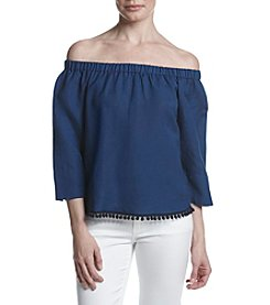 Joan Vass® Off The Shoulder Pom Pom Hem Top