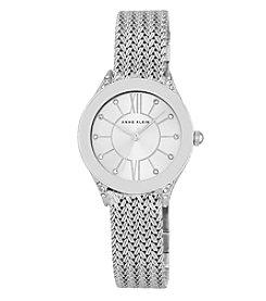 Anne Klein® Silvertone Crystal Mesh Bracelet Watch