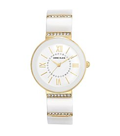 Anne Klein® Ceramic and Crystal Bracelet Watch