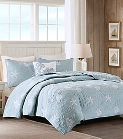 Harbor House Seaside Cotton 4-Piece Coverlet Set with Embroidery