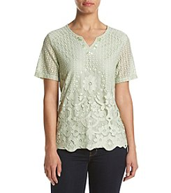 Alfred Dunner® Lace Border Knit Top