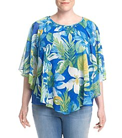 Alfred Dunner® Plus Size Tropical Overlay Top