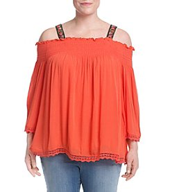 Oneworld® Plus Size Embroidered Cold Shoulder Top