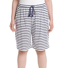 KN Karen Neuburger Plus Size Striped Bermuda Shorts