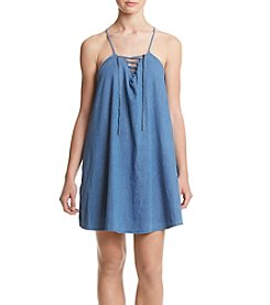Hippie Laundry Lace Up Chambray Dress
