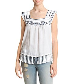 Hippie Laundry Embroidered Fringe Hem Tank