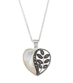 Marsala Marcasite And Mother Of Pearl Heart Necklace