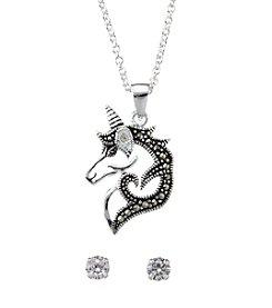Marsala Unicorn Necklace And Stud Earrings Set