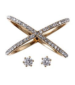 City x City Goldtone Crystal Ring and Earrings Set