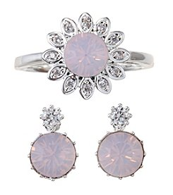 City x City Floral Crystal Duo Ring and Earrings Set
