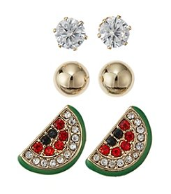 Studio Works® Simulated Crystal Earrings Trio