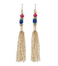 Relativity® Linear Earring With Bead & Chain Tassel