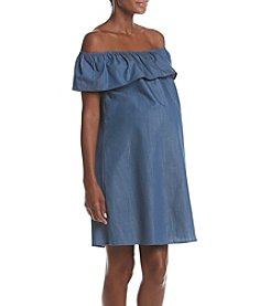 Three Seasons Maternity™ Off Shoulder Chambray Dress