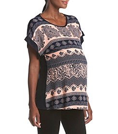 Three Seasons Maternity™ Cap Sleeve Contrast Cuff Top