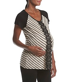 Three Seasons Maternity™ Lace Detail Stripe Baseball Tee