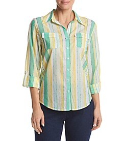 Alfred Dunner® Petites' Roll Tab Stripe Equipment Woven Top