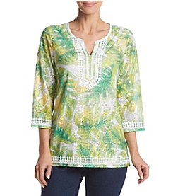 Alfred Dunner® Petites' Tropical Texture Tunic Knit Top