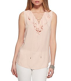 Jessica Simpson Ruffle Lace-Up Top