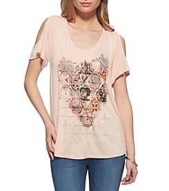 Jessica Simpson Mosaic Cold-Shoulder Tee